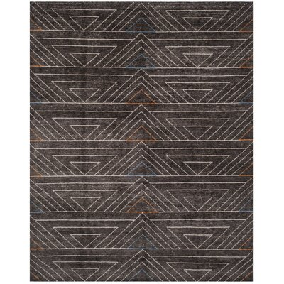 Omar Hand-Knotted Dark Brown Area Rug Rug Size: 5 x 8