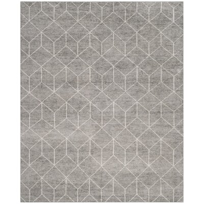 Oakely Hand-Knotted Gray Area Rug Rug Size: 4 x 6
