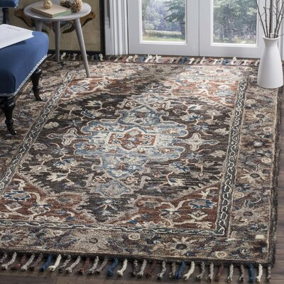 Carman Hand-Tufted Wool Charcoal Area Rug Rug Size: 3 x 5