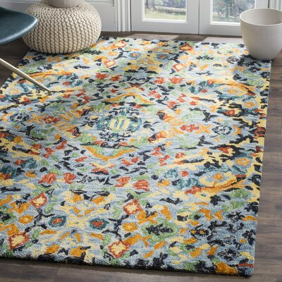 Elford Hand-Tufted Wool Blue Area Rug Rug Size: 5 x 8