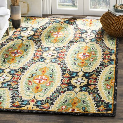 Elford Hand-Tufted Wool Charcoal Area Rug Rug Size: 5 x 8