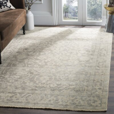 Kline Hand-Knotted Wool Light Gray Area Rug Rug Size: 9 x 12
