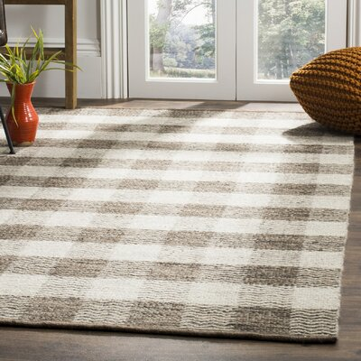 Vacaville Hand-Woven Wool Light Gray Area Rug Rug Size: Rectangle 5 x 8