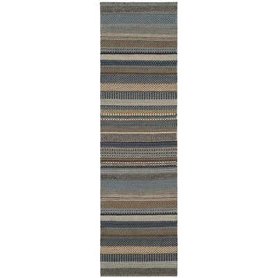 Kilim Hand-Tufted Wool Blue Area Rug Rug Size: Rectangle 9 x 12