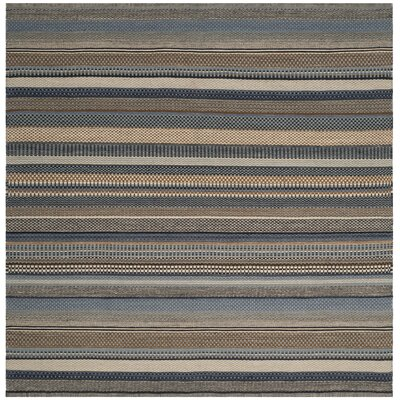 Kilim Hand-Tufted Wool Blue Area Rug Rug Size: Square 7