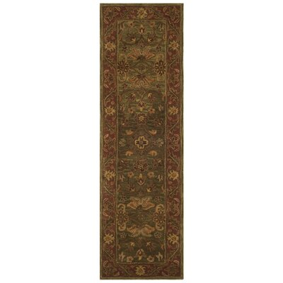 Jaipur Hand-Tufted Wool Green/Rust Area Rug Rug Size: Runner 23 x 8
