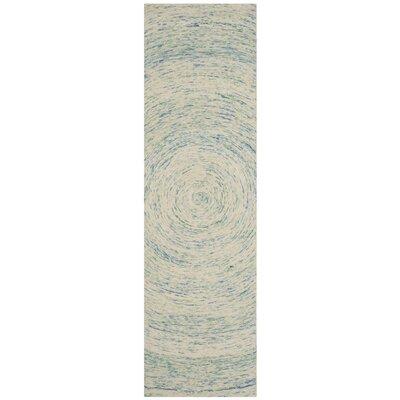 Ikat Ivory/Blue Area Rug Rug Size: Runner 23 x 8