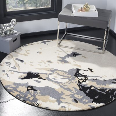Adan Ivory/Gray Area Rug Rug Size: Round 5
