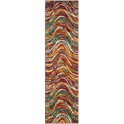 Miley Flower Red Area Rug Rug Size: Runner 22 x 8