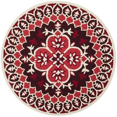Bellagio Hand-Tufted Red/Ivory Area Rug Rug Size: Round 5
