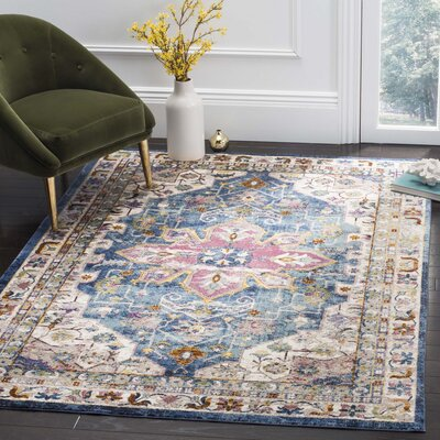 Andy Blue Indoor Area Rug Rug Size: 51 x 76