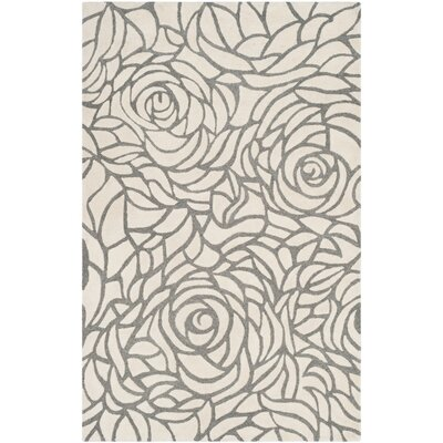 Roberta Hand-Woven Ivory Area Rug Rug Size: Rectangle 5 x 8