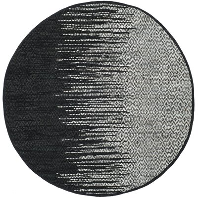 Erik Hand-Woven Light Grey/Black Area Rug Rug Size: Round 6