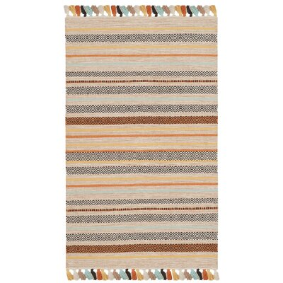 Trenton Hand-Woven Cotton Beige Area Rug Rug Size: 3 x 5