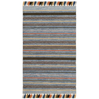 Trenton Hand-Woven Cotton Blue Area Rug Rug Size: 3 x 5