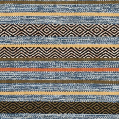 Trenton Hand-Woven Cotton Blue Area Rug Rug Size: Square 6