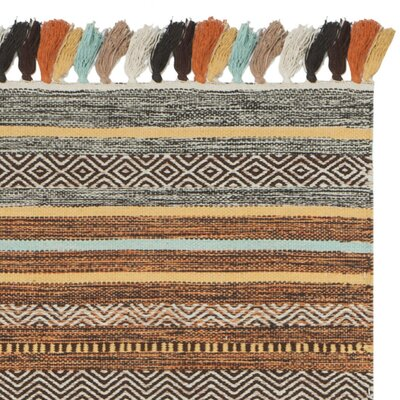 Trenton Hand-Woven Cotton Brown/Gray Area Rug Rug Size: 5 x 8