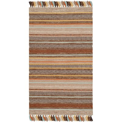 Trenton Hand-Woven Cotton Brown Area Rug Rug Size: 5 x 8