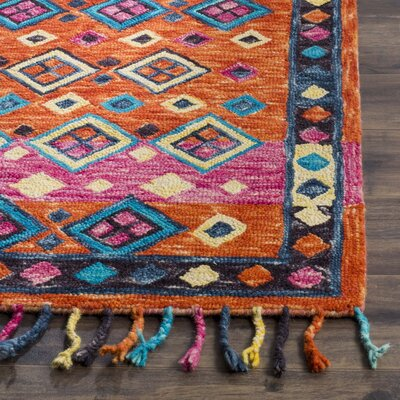 Sharo Hand-Tufted Wool Orange Area Rug Rug Size: 5 x 8