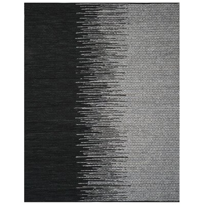 Erik Hand-Woven Light Grey/Black Area Rug Rug Size: Rectangle 8 x 10