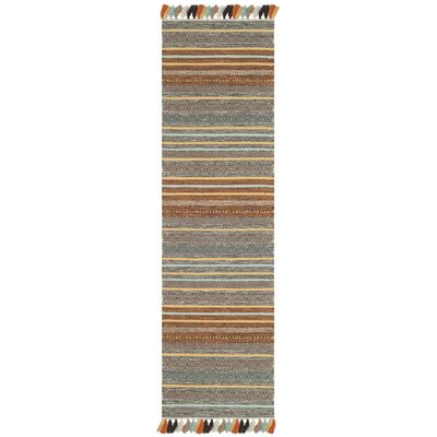 Trenton Hand-Woven Cotton Brown/Gray Area Rug Rug Size: Runner 23 x 8