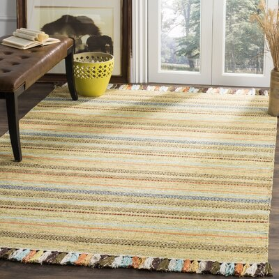 Trenton Hand-Woven Cotton Beige Area Rug Rug Size: Square 6