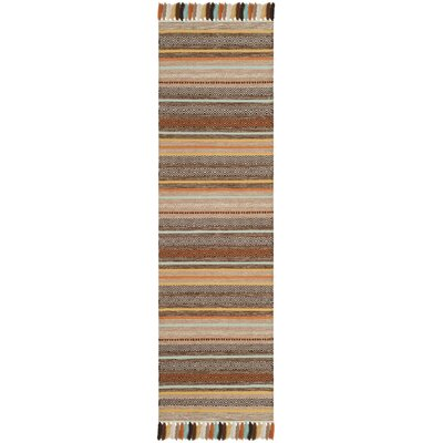 Trenton Hand-Woven Cotton Brown Area Rug Rug Size: Runner 23 x 8
