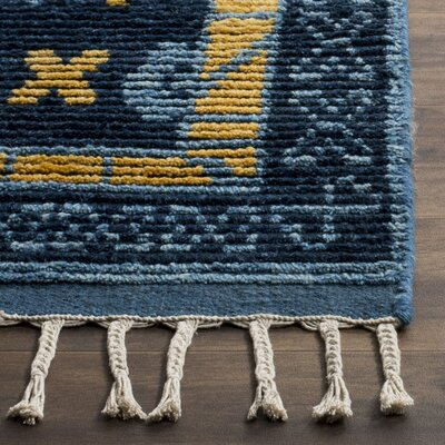Syed Knotted Cotton Blue Area Rug Rug Size: 9 x 12