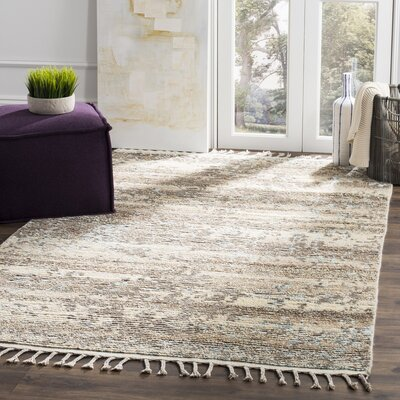 Hawke Knotted Cotton Beige Area Rug Rug Size: 9 x 12