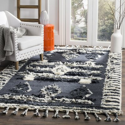 Hawke Knotted Cotton Charcoal Area Rug Rug Size: 8 x 10