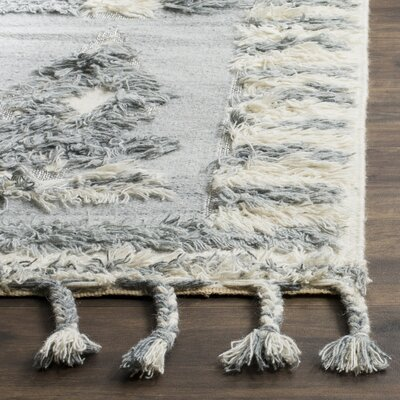 Hawke Knotted Cotton Gray Area Rug Rug Size: 9 x 12