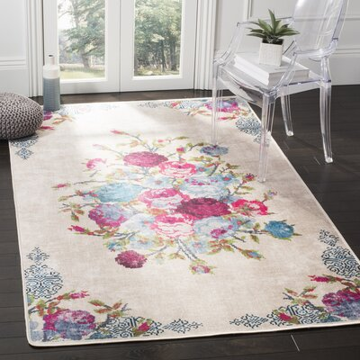 Janiyah Floral and Plants Ivory Area Rug Rug Size: 51 x 76