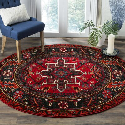 Barrera Red/Black Area Rug Rug Size: Round 53 x 53
