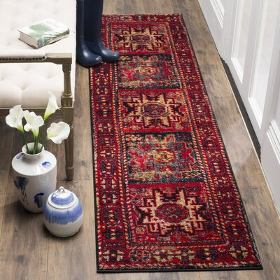 Parthenia Red Area Rug Rug Size: Runner 22 x 16