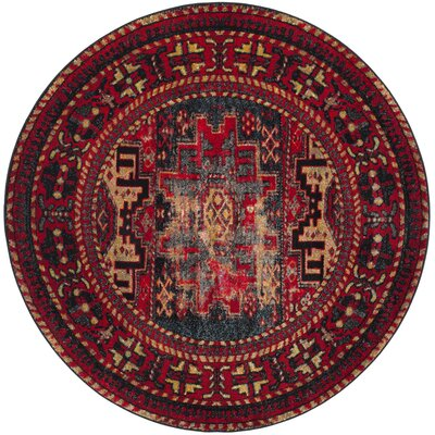 Parthenia Red Area Rug Rug Size: Round 53 x 53