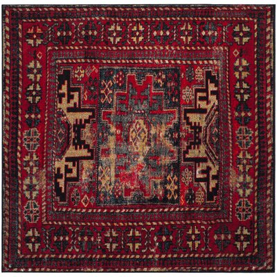 Parthenia Red Area Rug Rug Size: Square 5 x 5