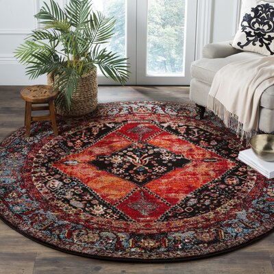 Rangel Orange Area Rug Rug Size: 53 x 53 Round