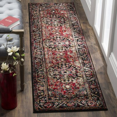 Mccall Red/Black Area Rug Rug Size: Runner 22 x 12