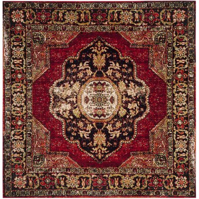 Fitzpatrick Red Area Rug Rug Size: Square 53 x 53