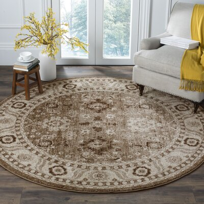 Asheville Taupe Area Rug Rug Size: 53 x 53 Round