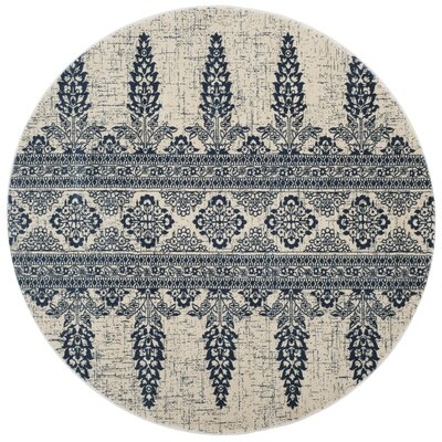 Elson Ivory/Royal Area Rug Rug Size: Round 67