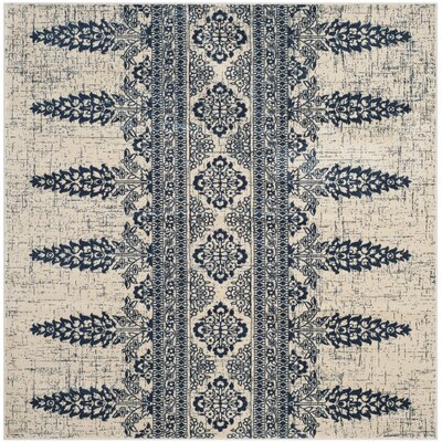 Elson Ivory/Royal Area Rug Rug Size: Square 67