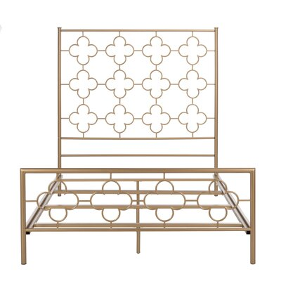 Kieran Lattice Full/Double Panel Bed Size: QUEEN, Color: Gold