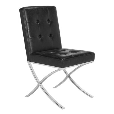 Ouseman Tufted Upholstered Dining Chair Upholstery: Black