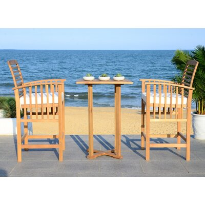 Kirsta 3 Piece Pub Table Set Finish: Teak