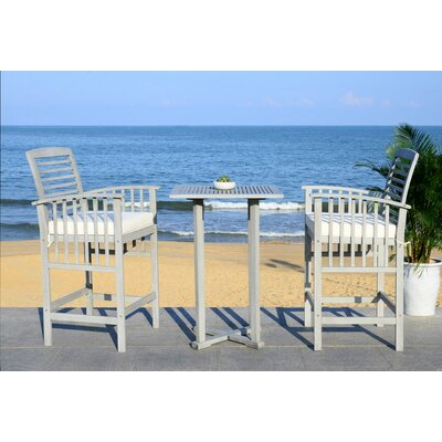 Kirsta 3 Piece Pub Table Set Color: Gray Wash