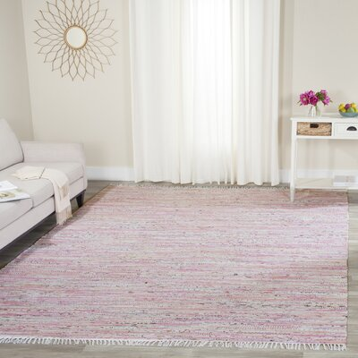 Woodminster Hand Woven Cotton Light Pink Area Rug Rug Size: Rectangle 9 x 12
