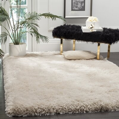 Jayne Shag Hand Woven Bone Area Rug Rug Size: Rectangle 4 x 6