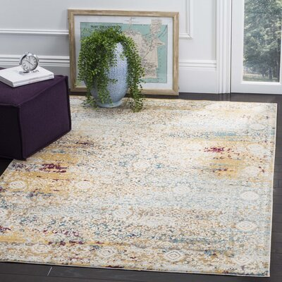 Valcour Yellow Area Rug Rug Size: Rectangle 8 x 10