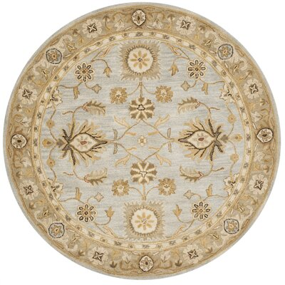 Tinley Hand-Tufted Wool Light Blue Area Rug Rug Size: Round 6